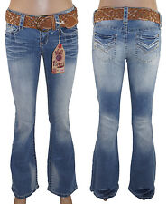 Wallflower Famous Flare Jeans Juniors Low Rise Belted Denim