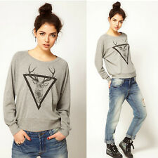 Women Crewneck Sweatshirt Hoodie Reindeer Casual Blouse Tops T-Shirt Hoody Loose