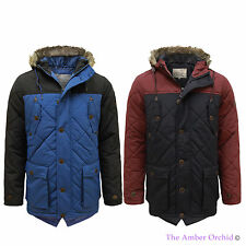 BRAVE SOUL MENS FAUX FUR QUILTED PADDED HOODED LONG WINTER PARKA JACKET COAT