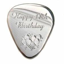 "Personalised S/Steel 1.2mm ""Happy Birthday"" Guitar Plectrum Pick, Engraved"