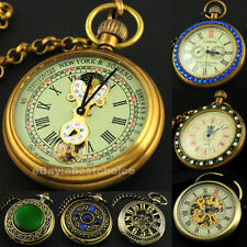 Retro Mechanical Pendant Bronze Chain Wind-Up Mens Man Pocket Watch Necklace