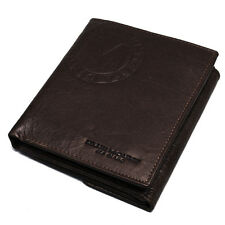 New Brown Leather Mens Bifold Wallet Purse Vintage Retro Coin Pocket MJ3082