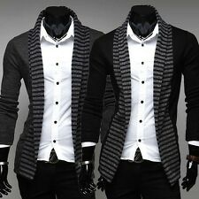 Men's New Stripes Slim Fit Suit Blazer Casual Long Sleeve Coats Jacket 2 Colors