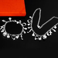 Women's Lovely 13PCS Charms Link Chain Silver Plated Bracelet Bangle+Necklace