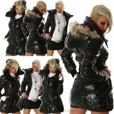 Damen Glanz Stepp Jacke Mantel Steppjacke Wet Look Kapuze Neu 32 34 36 38 40
