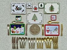 DOLLS HOUSE MINIATURE Christmas Tree XMAS TABLE PLACEMATS Gold or Silver CUTLERY