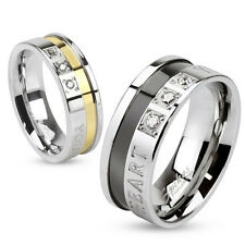 """Stainless Steel """"You are Always in my Heart"""" 2-Tone Wedding Band Ring Size 5-13"""