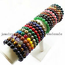 Wholesale Mixed Gemstone Round Bead Stretchy Bracelet 7 inch C624