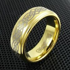 Tungsten Men's Gold Celtic Knot Stripe Band Ring Size 9-13