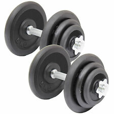 CAST IRON DUMBBELL WEIGHT BARS SET GYM/LIFTING/BODY BUILDING SPINLOCK DUMBELLS