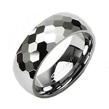 Tungsten Honeycomb Facet Comfort Fit Wedding Band Ring Sz 5-13 (2 width)