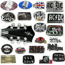 GUNS N ROSE ACDC Elvis Guitar Rock Roll Music Band BEATLES Buckle Leather Belt