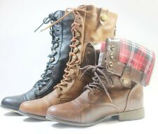 Women Combat Boots Fashion Mid Calf Folding Plaid Lining Tow Tone Faux Leather