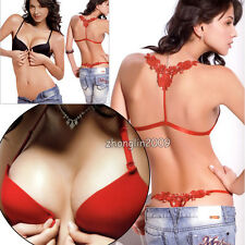 Women's Push Up Front buckle Y-Back Bra or Pany Vintage Embroidered 6 Colors