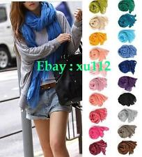 Hot Girls Womens Pure Candy Long Crinkle Soft Scarf Wrap Voile Wraps Stole Shawl