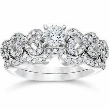 1.25CT Heart Shape Diamond Engagement Ring Wedding Bridal Band Set White Gold