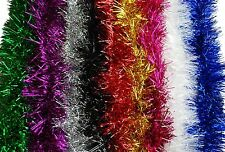 CHRISTMAS TINSEL 2 METRES IN 9 COLOURS - RED BLUE GOLD SILVER PURPLE GREEN PINK