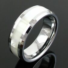 Tungsten Men's Mother of Pearl Inlaid Stripe Beveled Band Ring Size 9-13