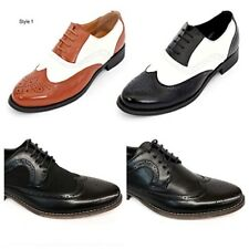 Mens New Smart Formal Leather Look Brogue Shoes Black Brown White Size 6 - 11