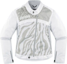 New womens Icon Hella 2 textile white armored motorcycle jacket coat
