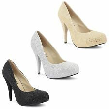 New Womens Ladies Stiletto High Heel Casual Party Platform Court Shoes Size 3-8