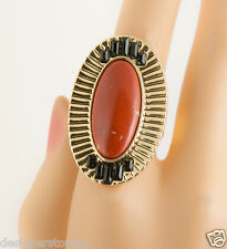 House of Harlow 1960 Nicole Richie Red Jasper Electric Charge Cocktail Ring