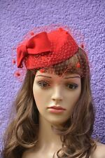 Womens Dress Vintage Fascinator Wool Pillbox Hat Party Wedding Bow Veil A068