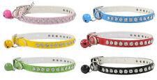 Bling rhinestone dog collar crystal diamonds cat puppy pet pu leather
