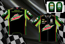 Dale Earnhardt Jr NASCAR Shirt Diet Mtn Dew Pit Crew Shirt Black Green Adult
