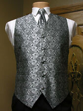Vest Silver Black Paisley Full Back Neck Tie Tuxedo Steampunk Wedding western