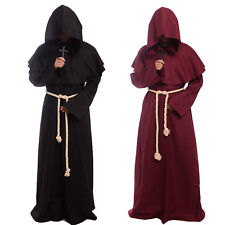 Monk Hooded Robe Cloak Cape Friar Medieval Renaissance Priest Men Cos Costume