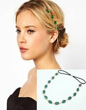 Women lady Faux Gemstone Rhinestone Boho Bohemian Party Hair chain head band