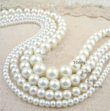 Wholesale Lots Glass Pearl Round Spacer Loose Beads 4mm/6mm/8mm/10mm