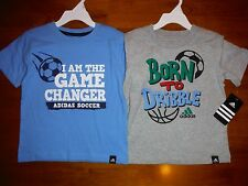New Toddler Boys Adidas Soccer Basketball Blue Green Gray Shirt 3T 4T 5T