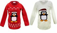 Children's Long Sleeve Christmas Penguin Print Children's Warm Fleece Jumper Top