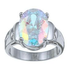 PalmBeach 5.81 TCW Oval-Cut Aurora Borealis Cubic Zirconia Cocktail Ring in Ster