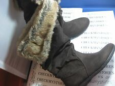 "NIB  R2 ""SNOW"" LADIES WOMEN'S ROLL OVER CONVERTIBLE BOOTS WINTER FAUX SUEDE FUR"