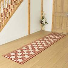 Chequer Red - Hallway Carpet Runner Rug Mat For Hall Extra Very Long Cheap New