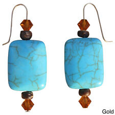 Beadwork By Julie Nevada Pilot Mountain Blue Turquoise and Crystal Earrings