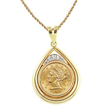 American Coin Treasures 14k Gold 1/8ct TDW Diamond and $2.50 Liberty Gold Piece