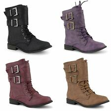 New Girls Boys Flat Lace Up Military Army Worker Ankle Combat Boots Shoes Size