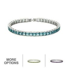 Oravo Sterling Silver Princess-cut Gemstone Tennis Bracelet