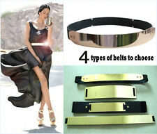 zz Elastic Mirror Metal Waist Belt Metallic Bling metal Gold plate Wide Obi Band
