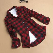 Button Down Plaids & Checks Flannel Casual Lapel Shirt Women Shirts Tops Blouse
