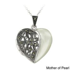 Glitzy Rocks Silvertone Marcasite And Gemstone Heart Locket Necklace