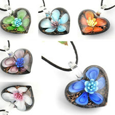 Fringed Petals Heart Handmade Lampwork Murano Glass Love Pendant Necklace p867