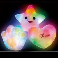 Romantic New LED Light Up Glow Pillow Soft Cosy Relax Cushion love-heart Star