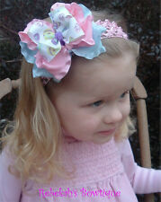 Easter Egg Pink Blue Purple Double Ruffle baby Hair Bow Headband Clip Spring