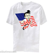Big Boy Flag T-Shirt Adult-Size Light Gray Retro Americana Bob's Big Boy Burgers