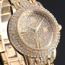 new Gold & Silver Bling Full Delicate Crystal Bracelet Women Quartz Wrist Watch